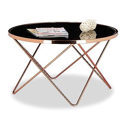 Relaxdays 10020416- mesa para/de salón (Metal, cobre y cristal, diseño vintage años 70, tabla redonda, 85x 85x 49cm, color Cobre y negro