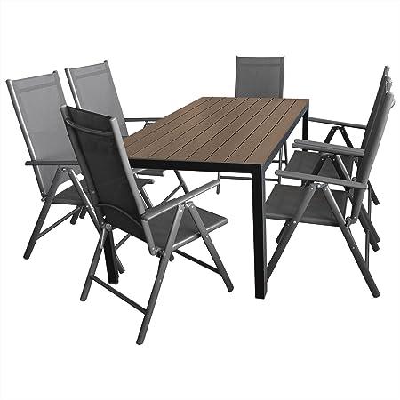7tlg. Gartenmöbel Terrassenmöbel Set Gartengarnitur Sitzgruppe Alu/Polywood Gartentisch 150x90cm Brown-Grey + 6x Hochlehner klappbar 2x2 Textilenbespannung