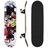 WeSkate 31 Inch Complete Skateboard - 7 Layer Canadian Maple Wood Double Kick Concave Skateboards, Tricks Skate Board for Beginners and Pro