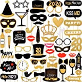 52 Pieces New Year Photo Booth Props Kit Black and Gold Photo Props with Wood Sticks 2020 Happy New Year Eve Party Supplies (Color: as the picture shown)