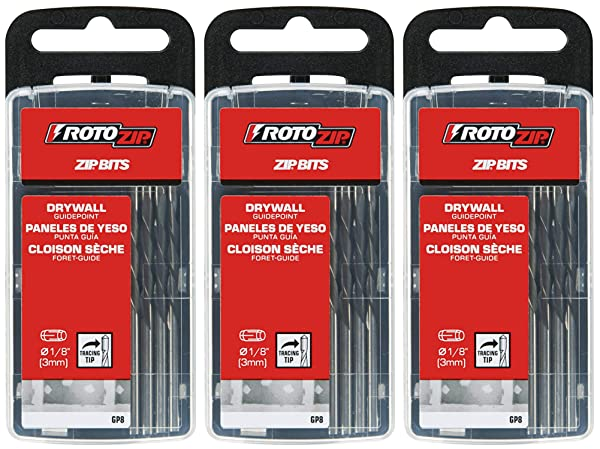 RotoZip GP8 1/8-Inch Guide Point Drywall Cutting Zip Bit, 8-Pack (Thr?? ?ack) (Tamaño: Thr?? ?ack)