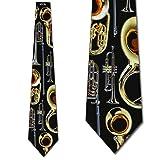 Brass Instruments Tie Mens Necktie by Three Rooker (Color: Black, Tamaño: One Size)