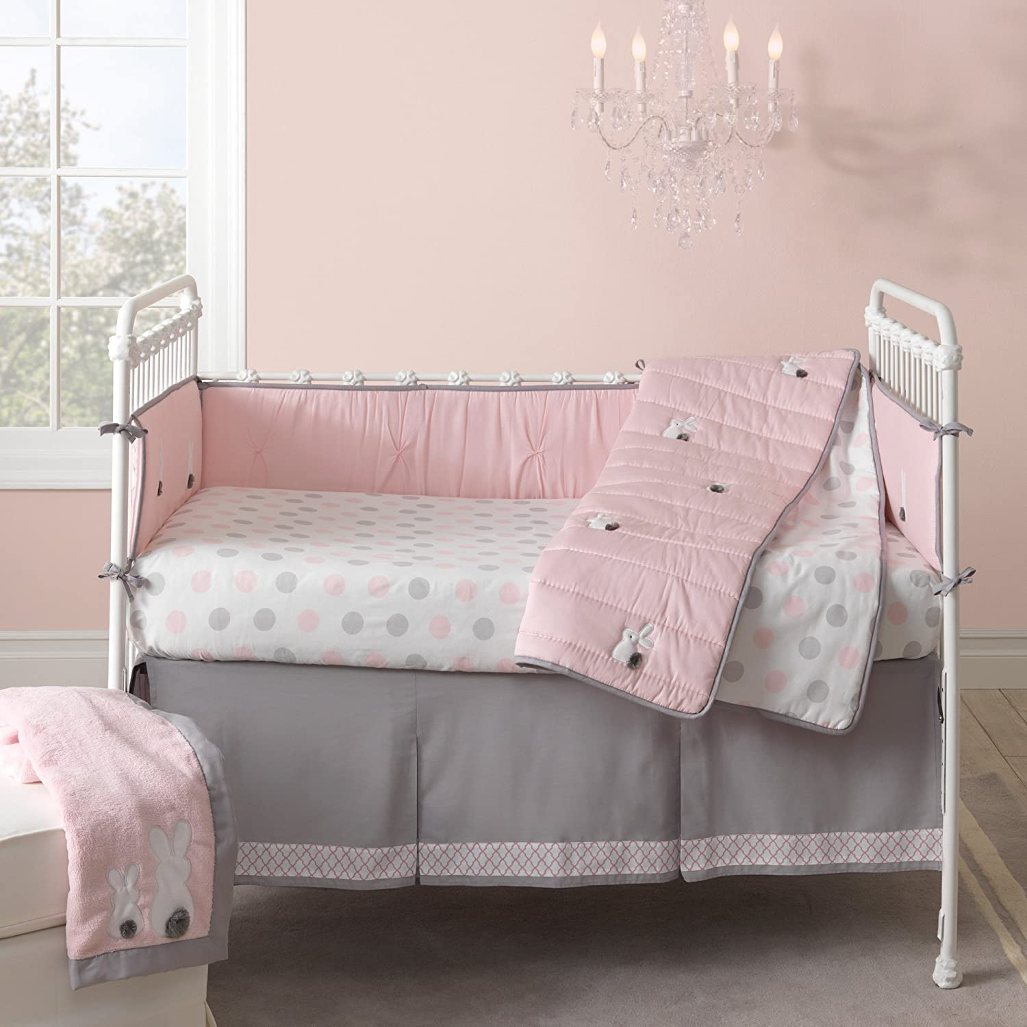 Lambs and Ivy Polka Dot Bunny Crib Bedding