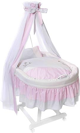 Easy Baby 191-46 - Culla completa con rotelle, inclusi biancheria, materasso e supporto per baldacchino, colore Rosa / Bianco
