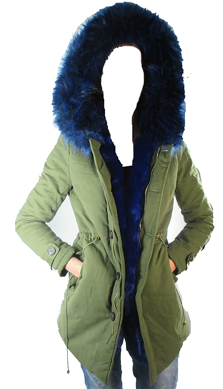 Blogger Parka Fun Fur Khaki farbige Fell Kapuze Kragen jetzt kaufen