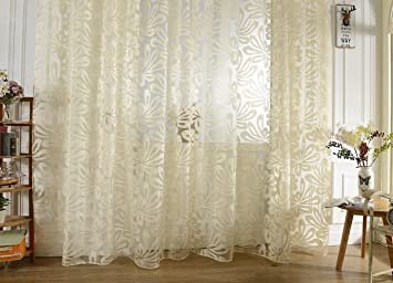 Living Room Curtains amazon living room curtains : Buy Generic Imported Jacquard 3D Big Flower Pattern 78.7 inch x ...