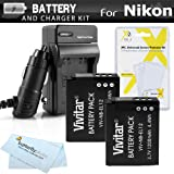 Replacement EN-EL12 2 Pack Battery and Charger Kit For NIKON Coolpix A900, S800c, S8200, S9100, S9300, S6300, S9200, S9500, AW120, AW130, S9700, S9900, Nikon KeyMission 360, KeyMission 170 and More