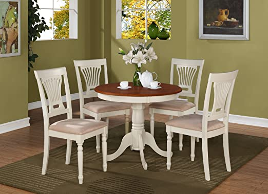 East West Furniture ANPL5-WHI-C 5-Piece Kitchen Table Set, Buttermilk/Cherry Finish