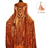 NJHG 5 Yards Lace Fabric Gorgeous Embroidery Fabric Decorated by Qualified Shiny Sequins/Spangles for Wedding/Party Dress (Color: Pattern 3-Orange, Tamaño: 5 Yards)