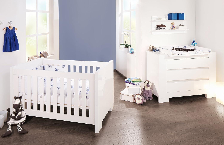 Pinolino Sparset Sky breit, 2-teilig, Kinderbett (140 x 70 cm) und breite Wickelkommode mit Wickelaufsatz, weiß Hochglanz (Art.-Nr. 09 34 98 B) günstig kaufen