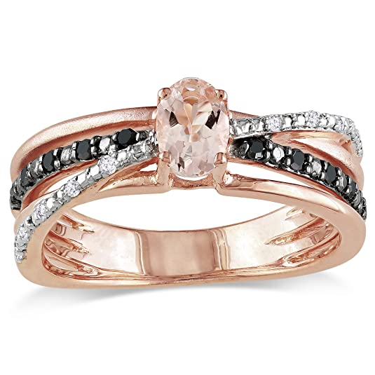 Rose Gold Flashed Silver Morganite and Black and White Accent Diamond Ring (0.14 Cttw)