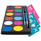 Colorful Face Paint Kit (12 Vivid Water Colors Palette) 24 Stencils 2 Brushes & Tutorial Ebook for Beginners - Ideal for Sensitive Skin, 100% Safe - Halloween Party Makeup - Super Easy On and Off
