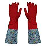 Hello Kitty Fleece Rubber Cleaning Dishwashing Latex Kitchen Waterproof Gloves 2 Pairs (Color: Red, Tamaño: one size)