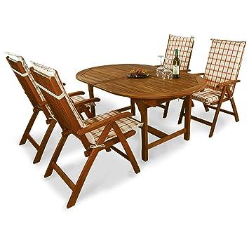 indoba® IND-70068-BASE5 + IND-70410-AUHL - Serie Bali - Gartenmöbel Set 9-teilig aus Holz FSC zertifiziert - 4 klappbare Gartenstuhle + ausziehbarer Gartentisch + 4 Comfort Auflagen Karo Orange