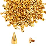 RUBYCA 500 Sets 14MM Gold Color Bullet Cone Spike and Stud Metal Screw Back for DIY Leather-Craft (Color: Gold, Tamaño: 500 PCS)