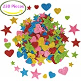 Foam Glitter Stickers Self Adhesive, Mini Heart and stars Shapes for Kid's Arts Craft Supplies Greeting Cards Home Decoration (230 Pieces)