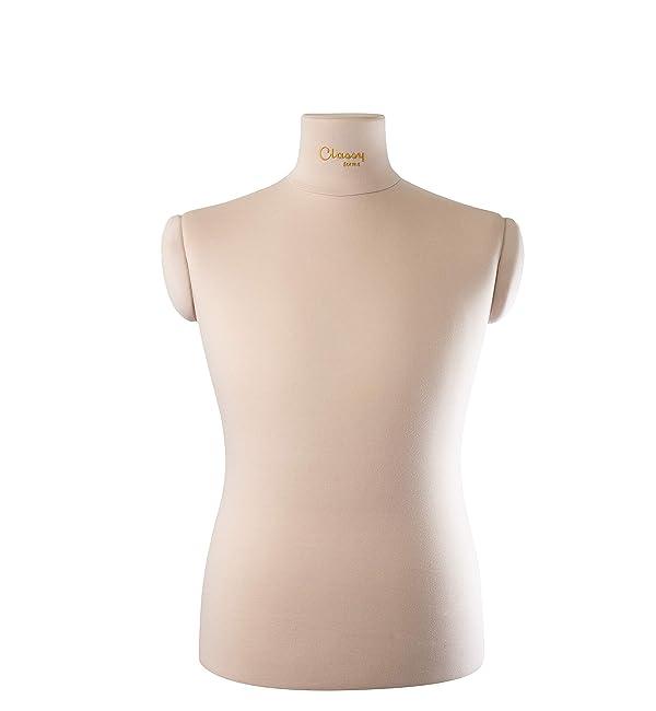 Male Mannequin Torso with Adjustable Stand | Professional Soft Tailor Male Dress Form Ben (Color: Beige, Tamaño: L)
