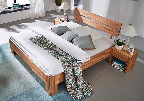SAM® Massivholzbett Pori, Bett aus Kernbuche, geölt, geteiltes Kopfteil, 140 x 200 cm
