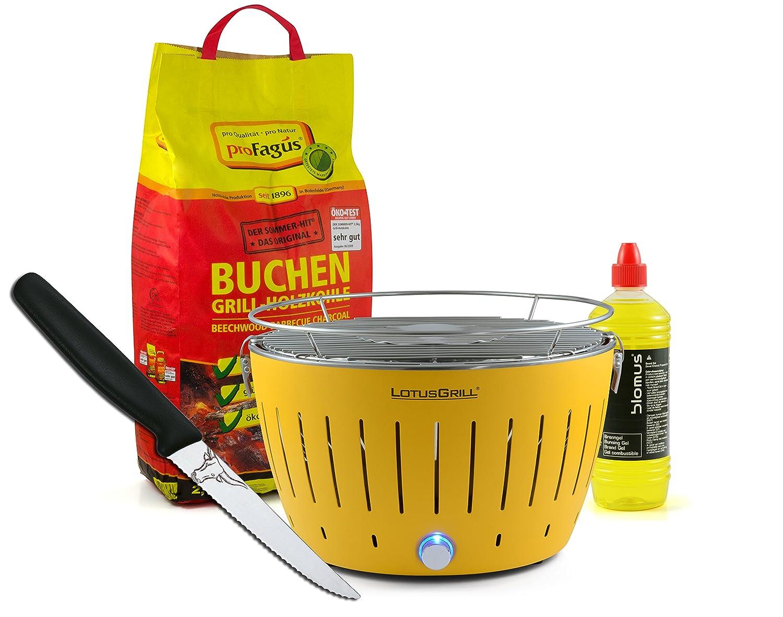 Lotusgrill GELB inkl. 2,5kg Holzkohle, Brenngel 1L & Steakmesser günstig