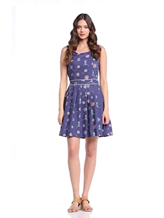 Yumi Damen  A-linie Kleid Blau Navy Gr. 36