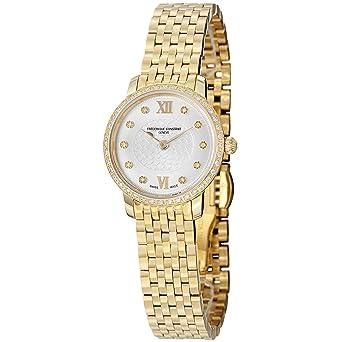 Frederique Constant Women's FC200WHDSD5B Slim Line Analog Display Swiss Quartz Gold Watch