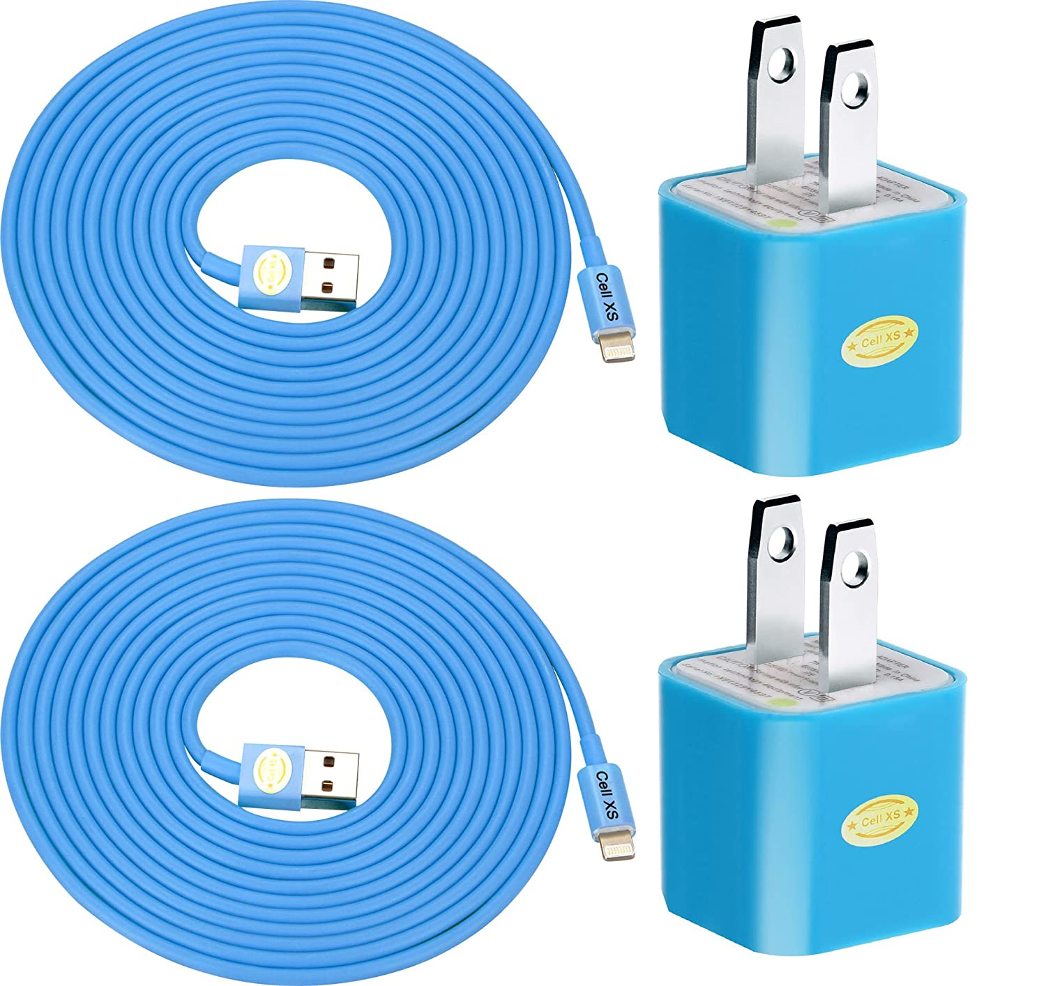 2pk 10ft Heavy Duty Lightning Cables with 2 Wall Chargers for iPhone 6S+/6S/6+/6/5/5C/5S