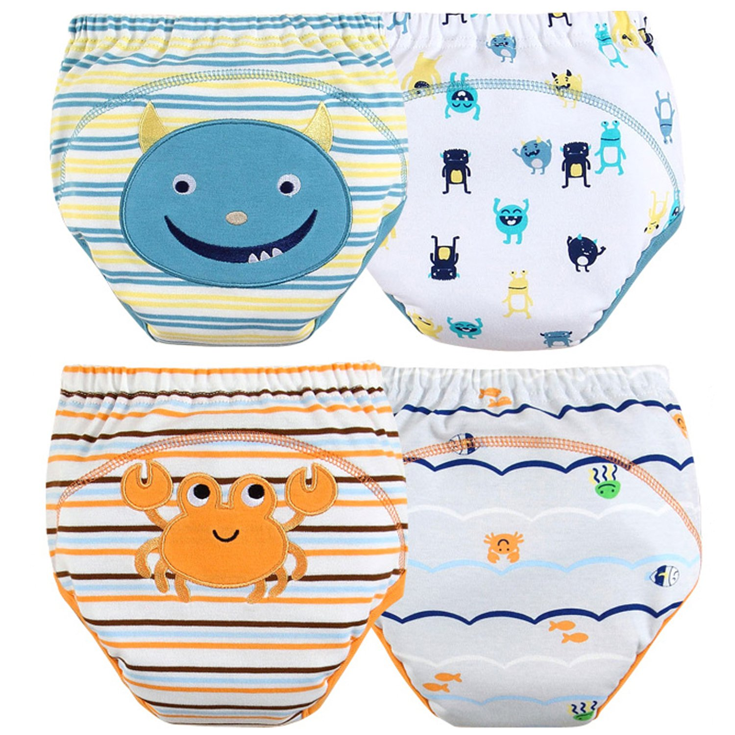{NEW LAUNCH!} Toddler Training Pants/Underwear. Water-resistent, Best Quality|Reusable|Washable|Cutest Designs|Soft Cotton|3 layers|4 different designs in a pack