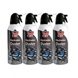 Dust-Off Compressed Gas Duster, Pack of 4 (Color: Clear, Tamaño: 4 Packs)