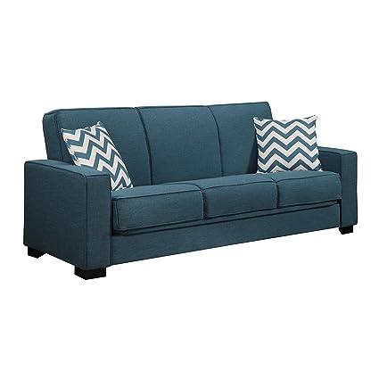 Handy Living C2-S174-LIN55 Puebla Linen Convert-A-Couch/Sleeper Sofa, Caribbean Blue