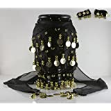 Luxury Sequins Coins Drop BELLY DANCE Hip skirt Ethnic 1 piece Black and Gold