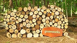 Motosierra GreenWorks 20312 G-MAX de 16 pulgadas con tecnología de motor sin escobillas, incluye batería y cargador GMax de 40 Voltios y  4 amperios.