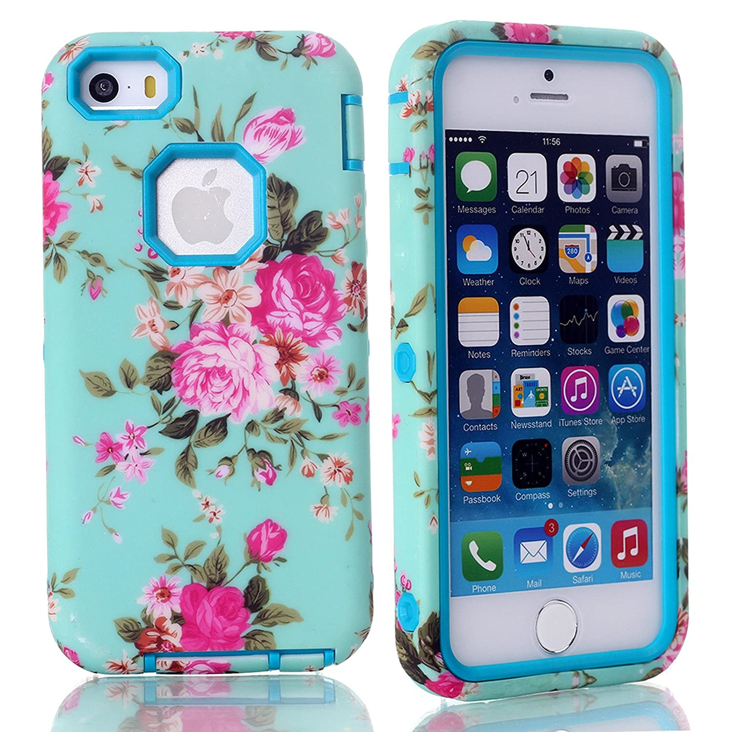 iPhone SE Case, Firefish (Combo Armor) Hard PC Cover Soft Silicone (Peony Pattern) Hybrid Defender (Drop-Resistance) (Detachable) Case for Apple iPhone SE/5/5S( Not for 5C)+One stylus-Blue