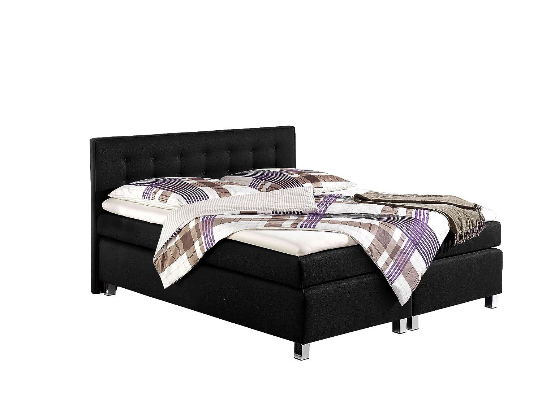 Maintal Betten 235913-3134 Boxspringbett Katar 160 x 200 cm inklusive Topper, schwarz