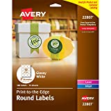 Avery Easy Peel Round Labels, Glossy, Full Bleed, Permanent Adhesive, 2-Inch Diameter, Pack of 180 (44807)