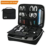 Vivefox Electronics Organizer, Double Layer Travel Gadget Electronic Accessories Bag for Cables, USB Flash Drive, Kindle Fire HD 6/7/8 & iPad 9.7'' (Color: Black, Tamaño: One_Size)