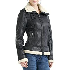 Womens Faux Shearling Trim Lambskin Leather Bomber Jacket