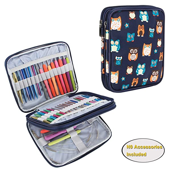 Teamoy Organizer Case for Interchangeable Circular Knitting Needles, Crochet Hooks and Knitting Accessories, Keep All in One Place and Easy to Carry, Owls (No Accessories Included) (Color: Owls, Tamaño: Small)