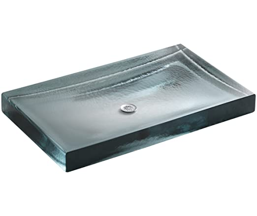 KOHLER K-2369-B11 Antilia Wading Pool Glass Countertop Bathroom Sink, Ice