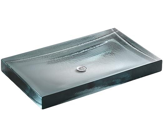 KOHLER K-2369-B11 Antilia Wading Pool Glass Countertop Bathroom Sink, Ice