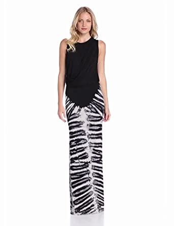 Young Fabulous & Broke Womens Lina Tank Skeleton with Ash Maxi Dress, Black, Small