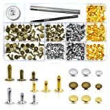WXJ13 135 Sets 3 Sizes Single Cap Rivets Metal Leather Rivets with 3 Pieces Tool Kits for Rivets Replacement, Leather Decoration (Color: Gold)