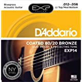 D'Addario EXP14 with NY Steel 80/20 Bronze Acoustic Guitar Strings, Coated, Light Top/Medium Bottom/Bluegrass, 12-56 (Color: Light Top / Medium Bottom | EXP14, Tamaño: Bluegrass Lt.Top/Med. Bottom, 12-56)