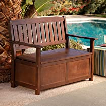Cabos Java Brown Wood 4 ft. Storage Bench