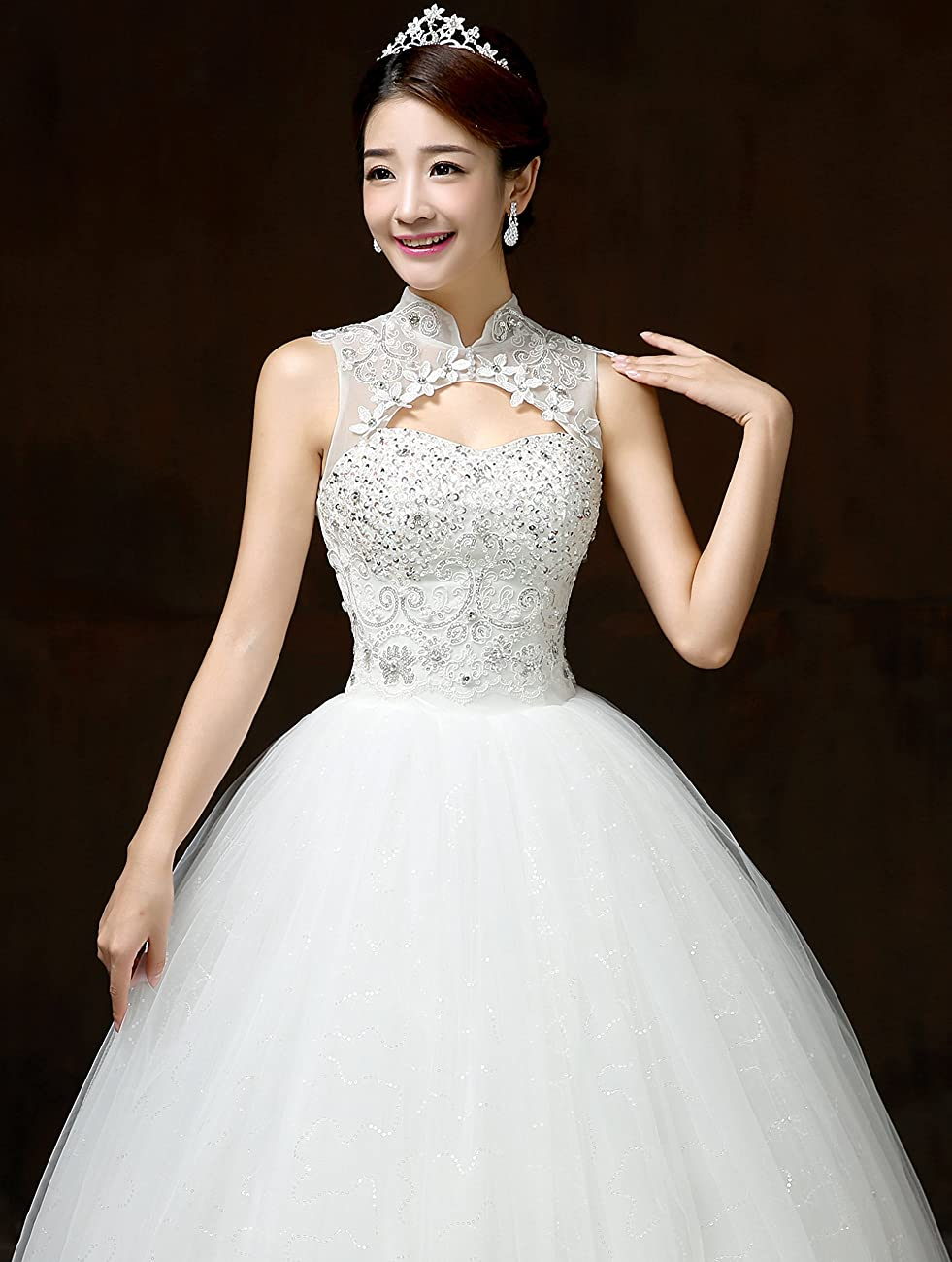 Clover Bridal Vintage High Collar Pearl Wedding Dress for Bride White Under 100 4