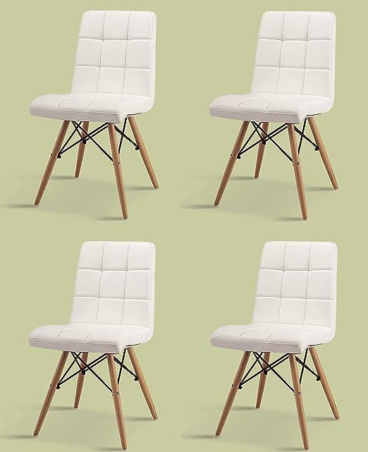Conjunto de 4 sillas de comedor INSPIRATION piel sintética blanco + cuero RETRO CHAIR silla de madera de haya