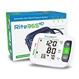 Arm Blood Pressure Monitor by Rite365 - Automatic -FDA approved - for Home and Travel - Upper Arm Cuff fits Standard and Large Arms, Deluxe Carry Case, Large Display (Tonometer)-AAA Batteries Included (Tamaño: large)