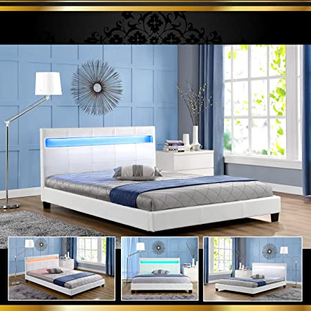 STELLA LED Weiss 160x200cm Polsterbett Doppelbett Bettgestell Bettrahmen mit Lattenrost