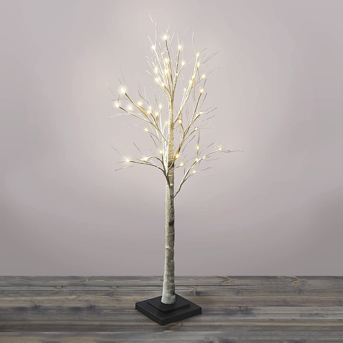 4.5 Ft. Pre-lit Birch Tree, 48 Warm White LEDs, Indoor/Outdoor Use, Plugin, Timer Included, UL Listed