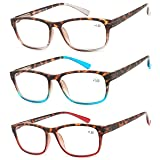 Reading Glasses 3 Pair Great Value Stylish Readers Fashion Men and Women Glasses for Reading +1.5 (Color: Set of Havana Clear, Havana Red, Havana Blue, Tamaño: mm)