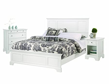 Home Styles 5530-6014 Naples Bed Frame with Night Stand and Chest, King, White